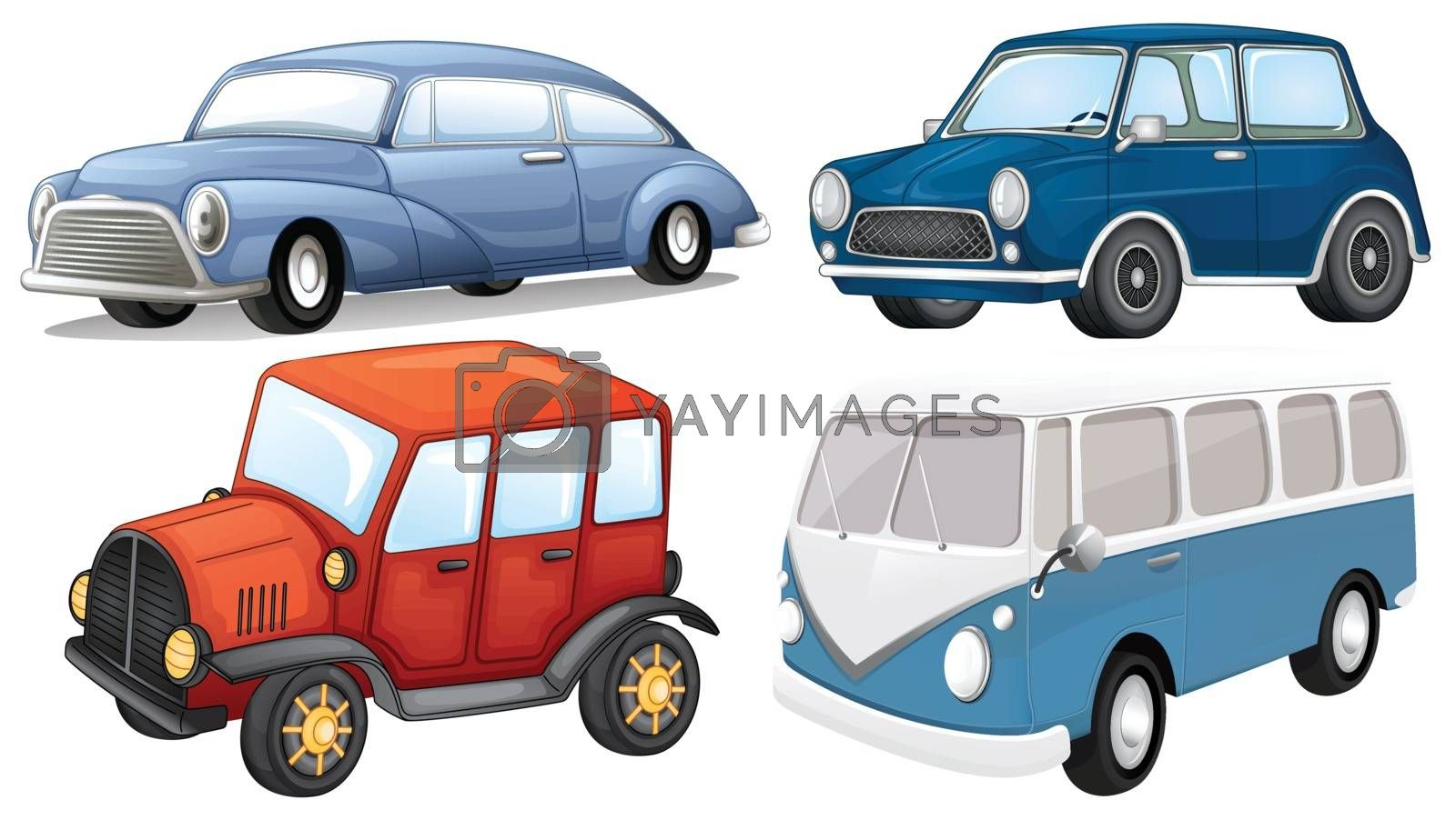 Illustration of the four different kinds of transportation on a white background