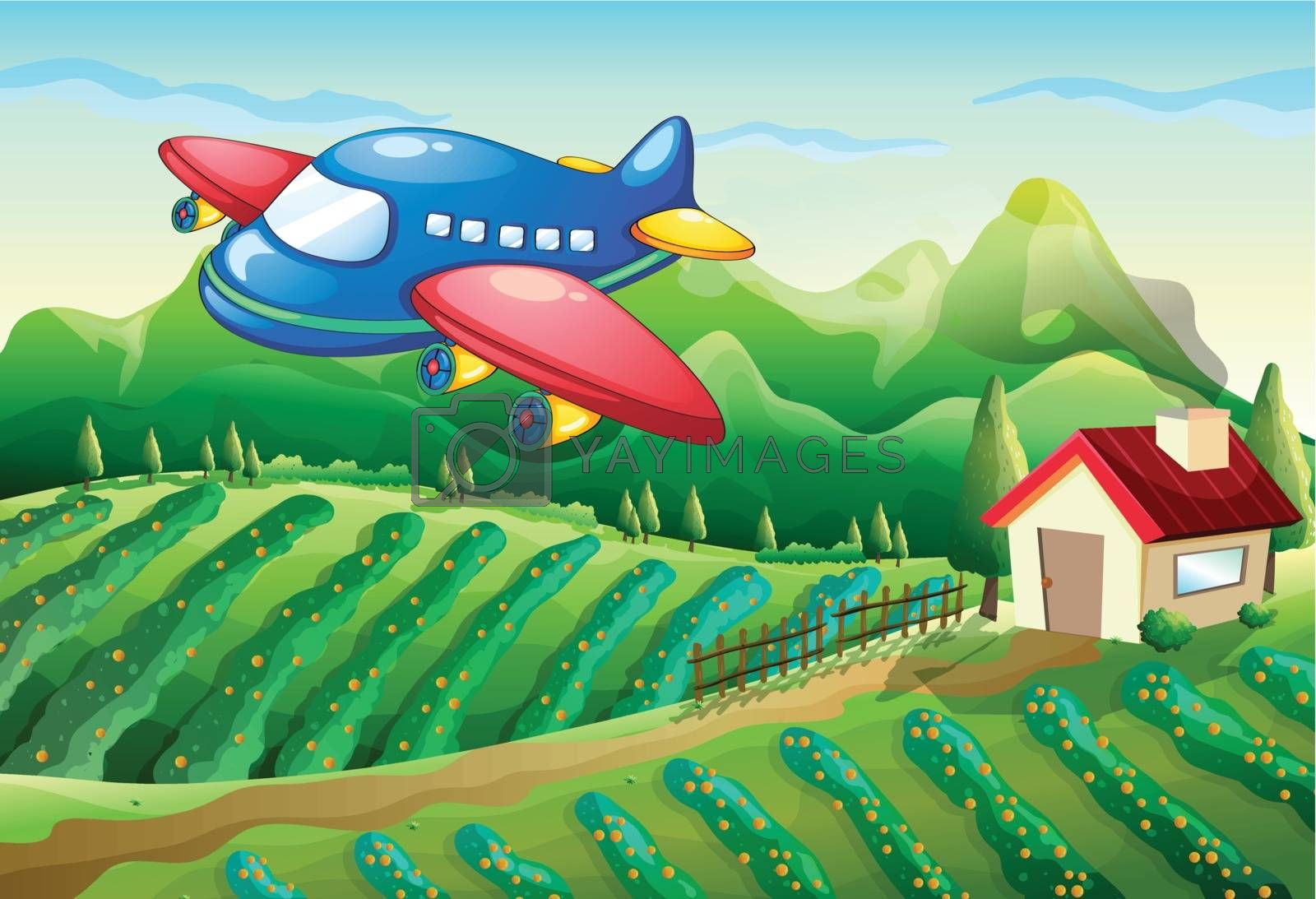 Illustration of an airplane above the farm with a house