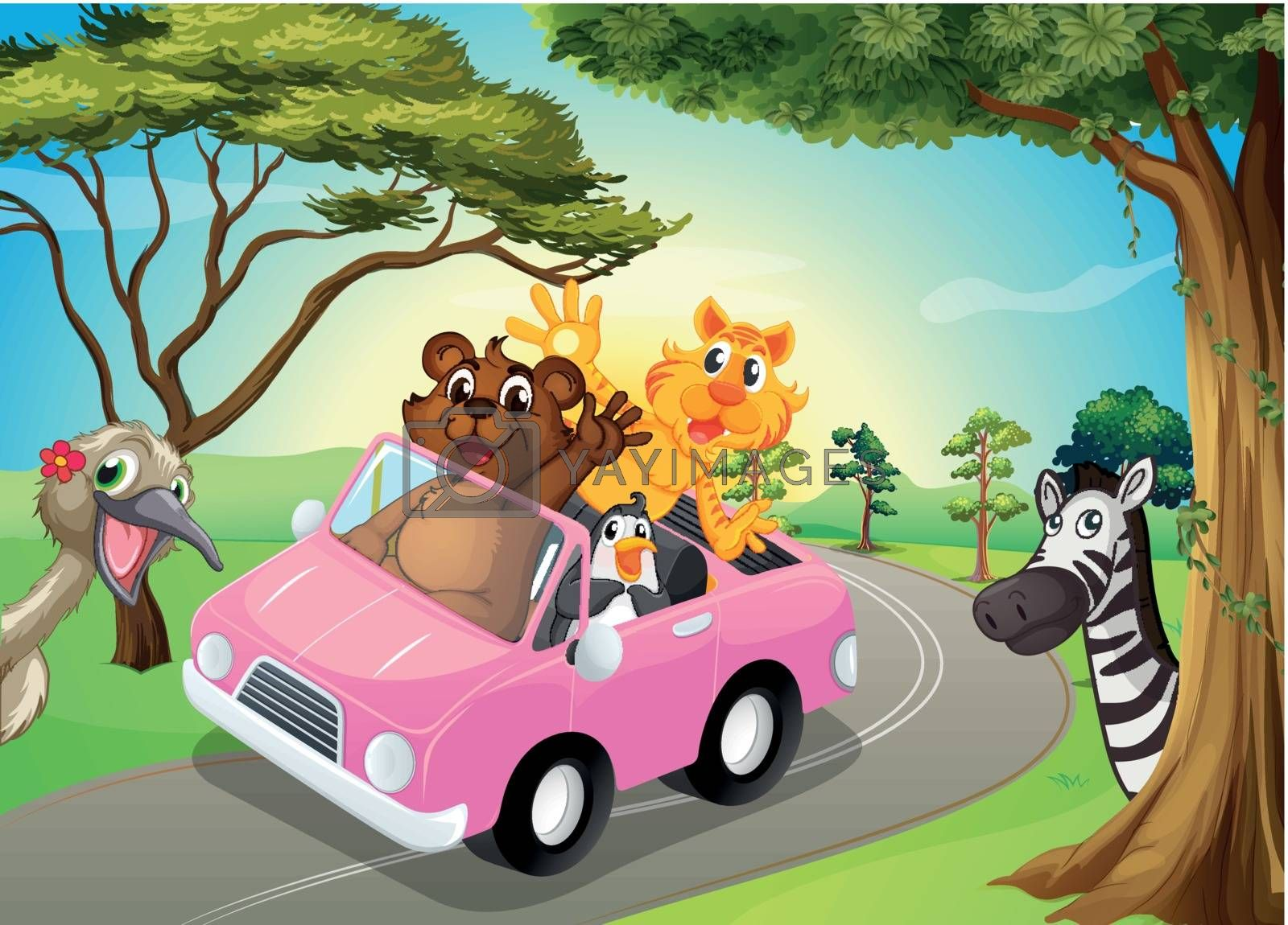 Illustration of a pink car with animals