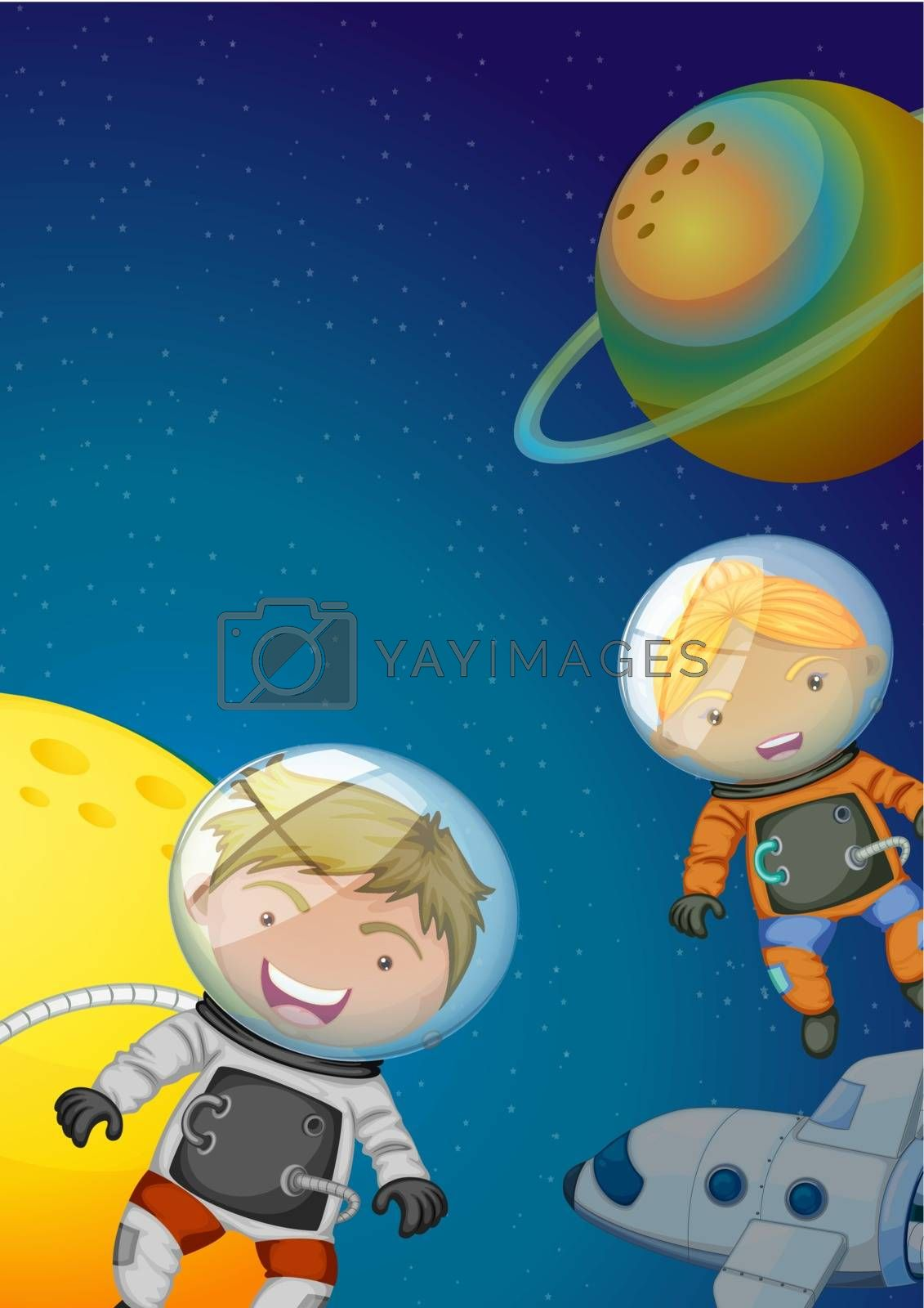 Illustration of the astronauts exploring the galaxy