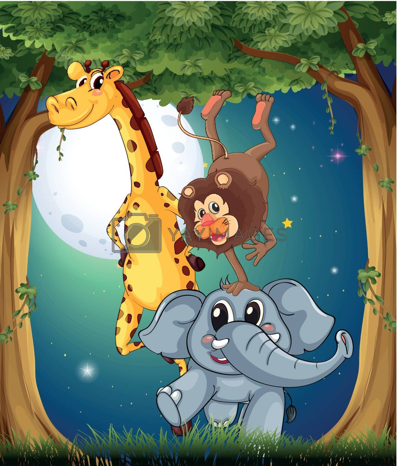Illustration of the three playful animals in the forest under the bright fullmoon