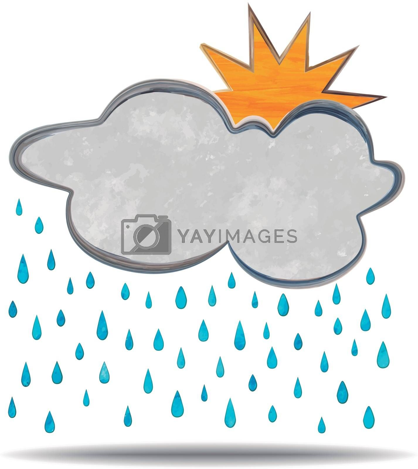 grunge illustration of a cloud, sun and rain        grunge illustration of a cloud, thunder and rain