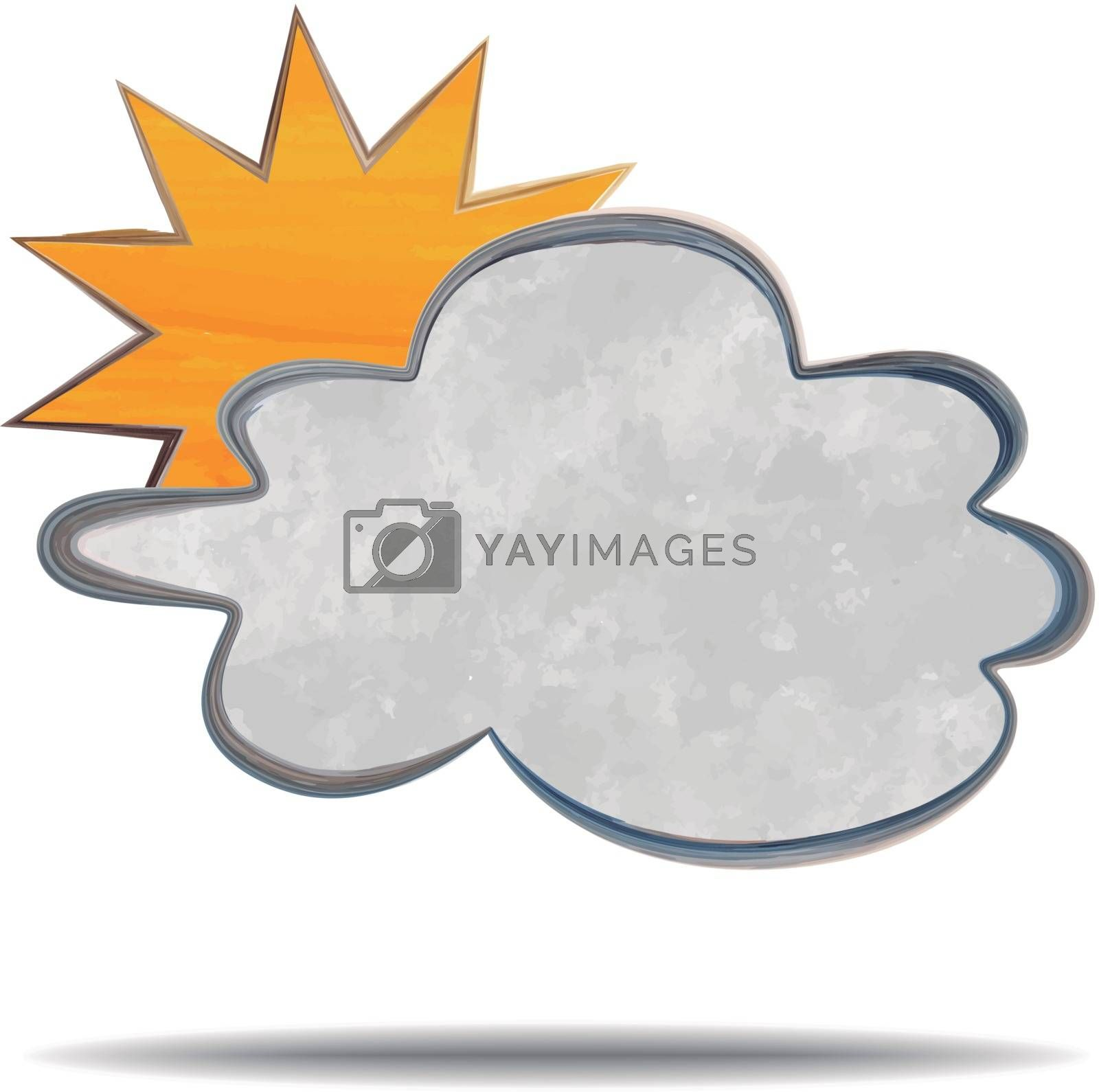 grunge illustration of a cloud and a sun