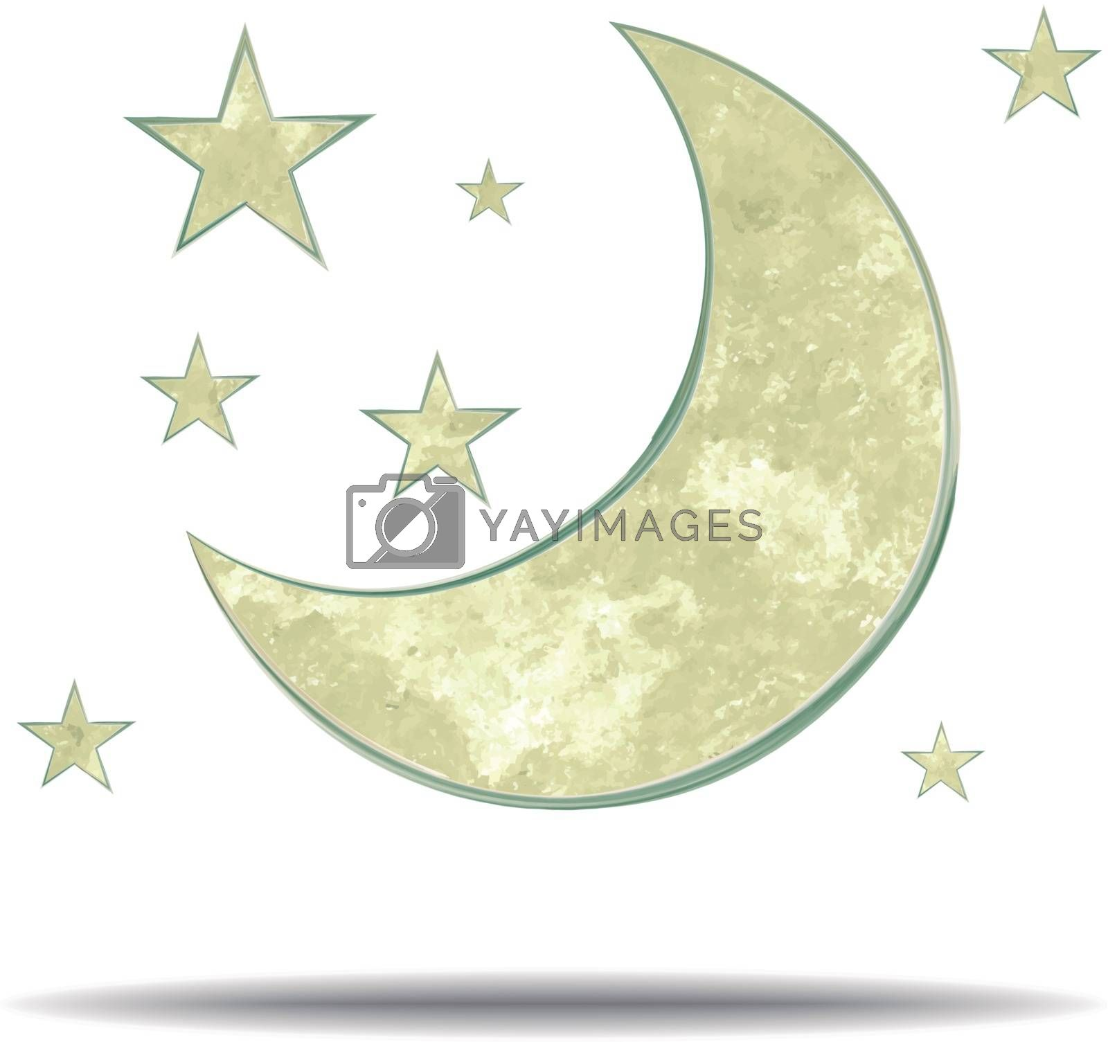 grunge illustration of a moon and stars