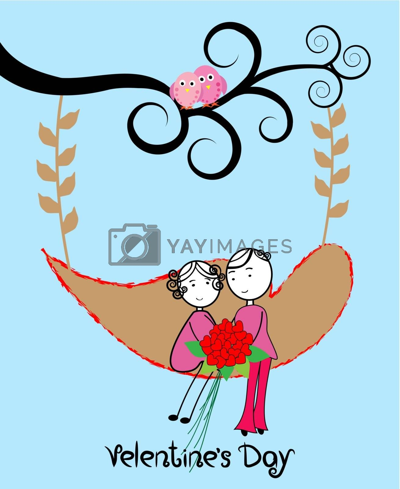 Couple relaxing on a swing-vector illustration
