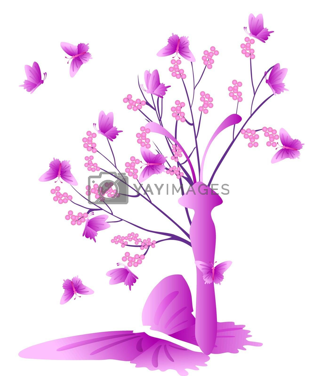 Tree and butterfly - vector illustrations