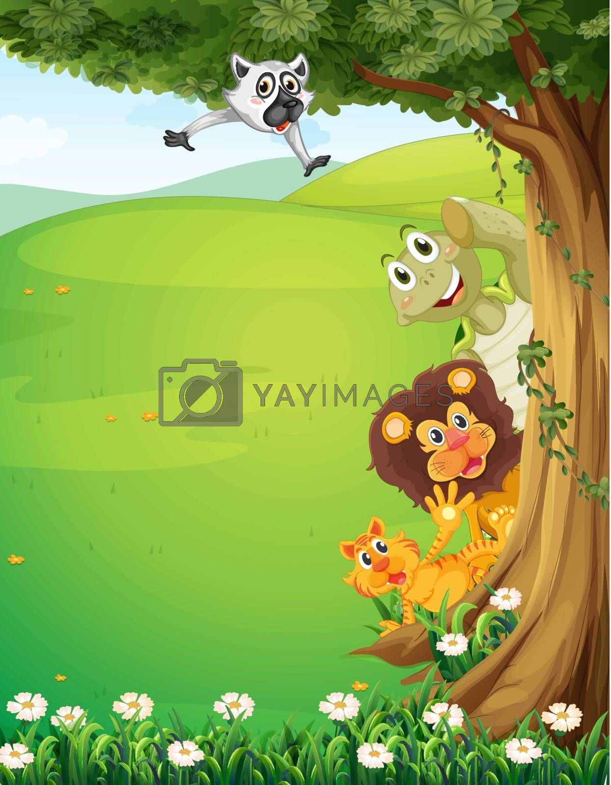 Illustration of a tree at the top of the hills with animals hiding