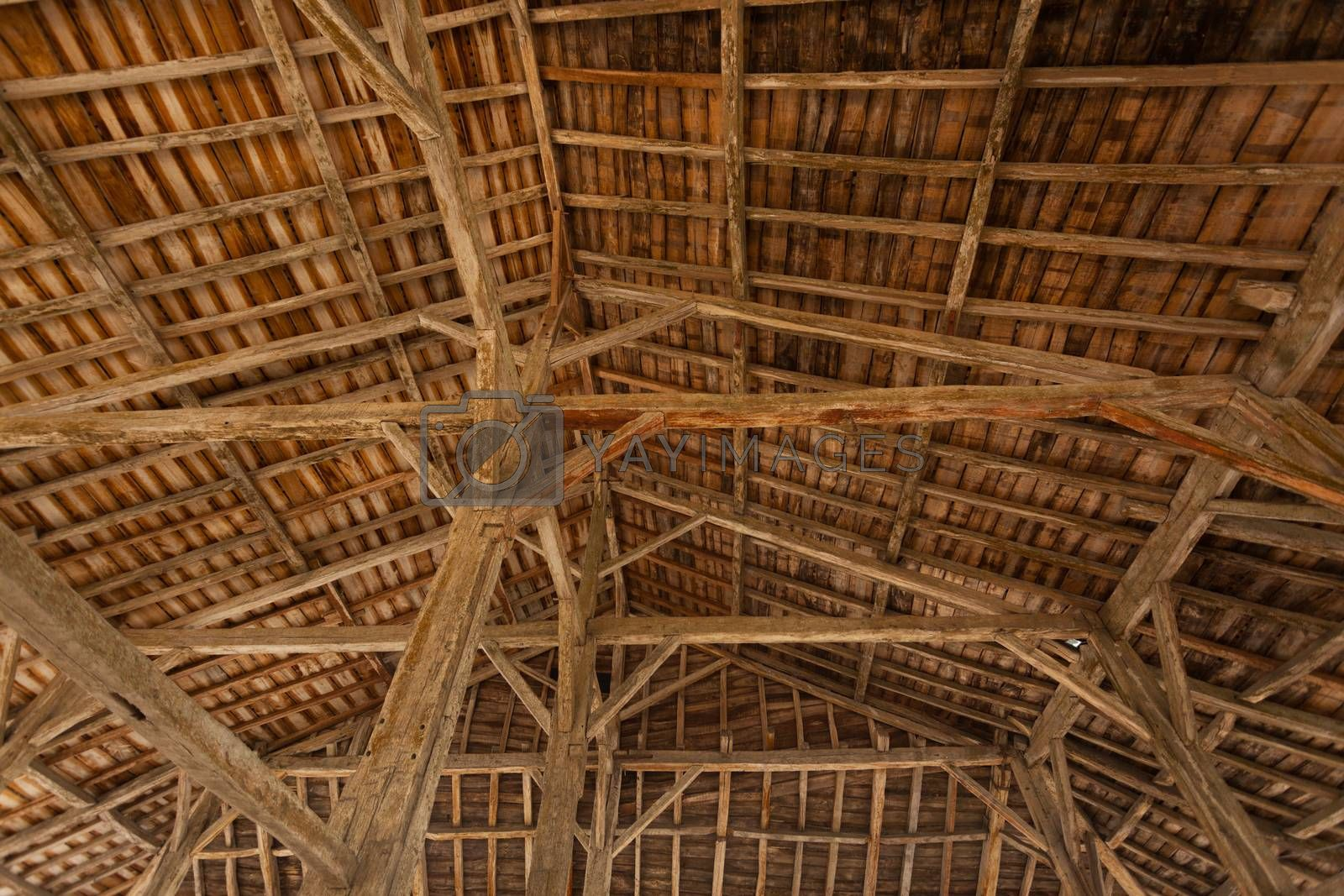 Inside view structure of a ceiling in a traditional market place very common in France´s villages normally called Halles