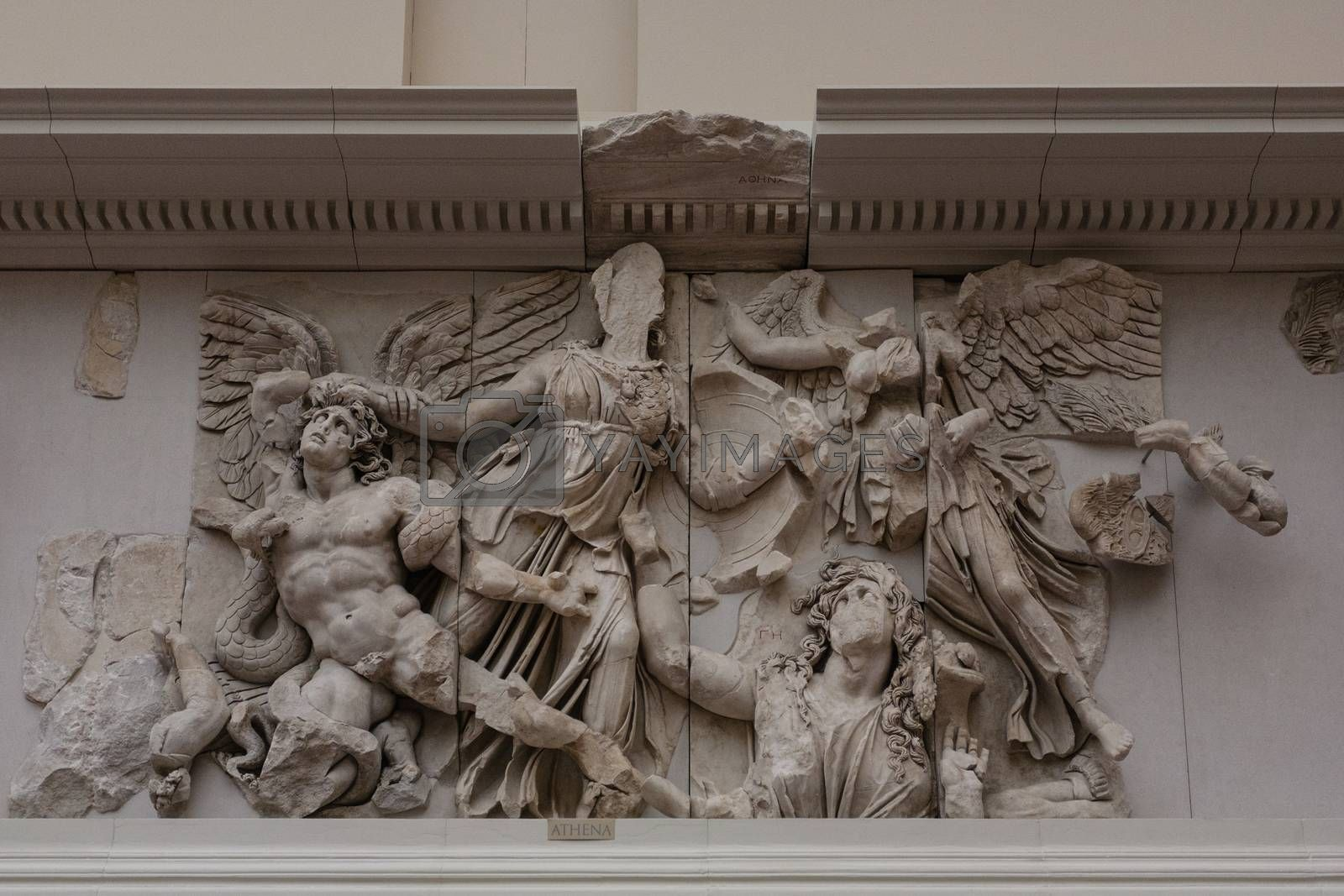 Detail of the Pergamon altar of the greek temple of pergamon in the Pergamon museum of Berlin