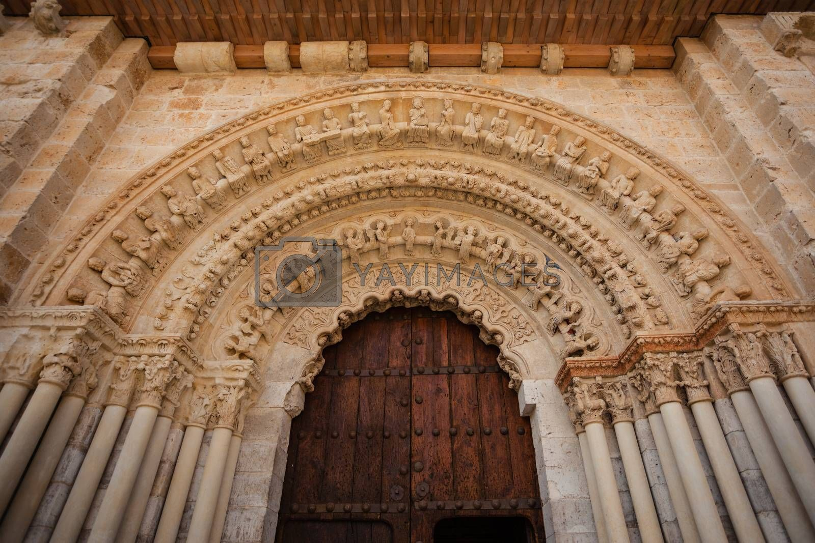 romanesque archivolts and voussoir detail from the collegiate church of the town of Toro in Zamora Spain