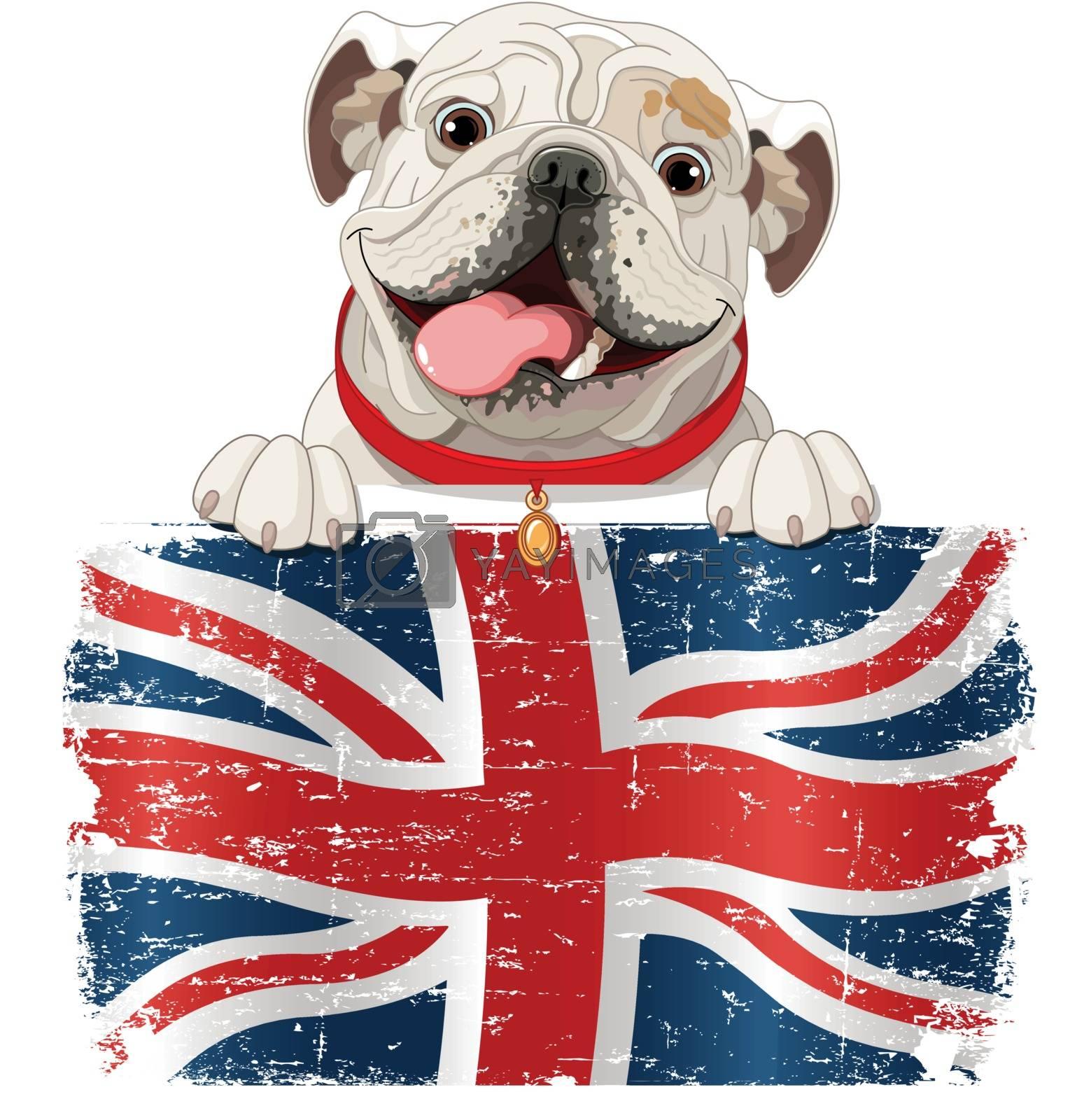 English Bulldog over British flag