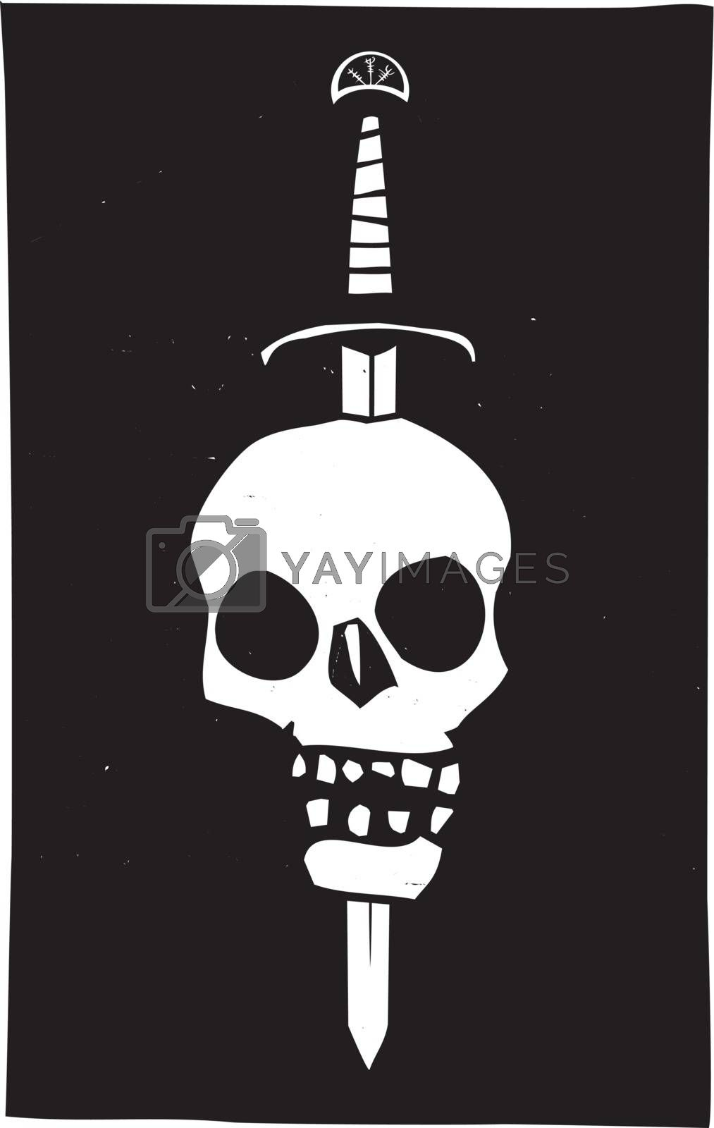 Woodcut style image of a human skull impaled on a sword on a black background.