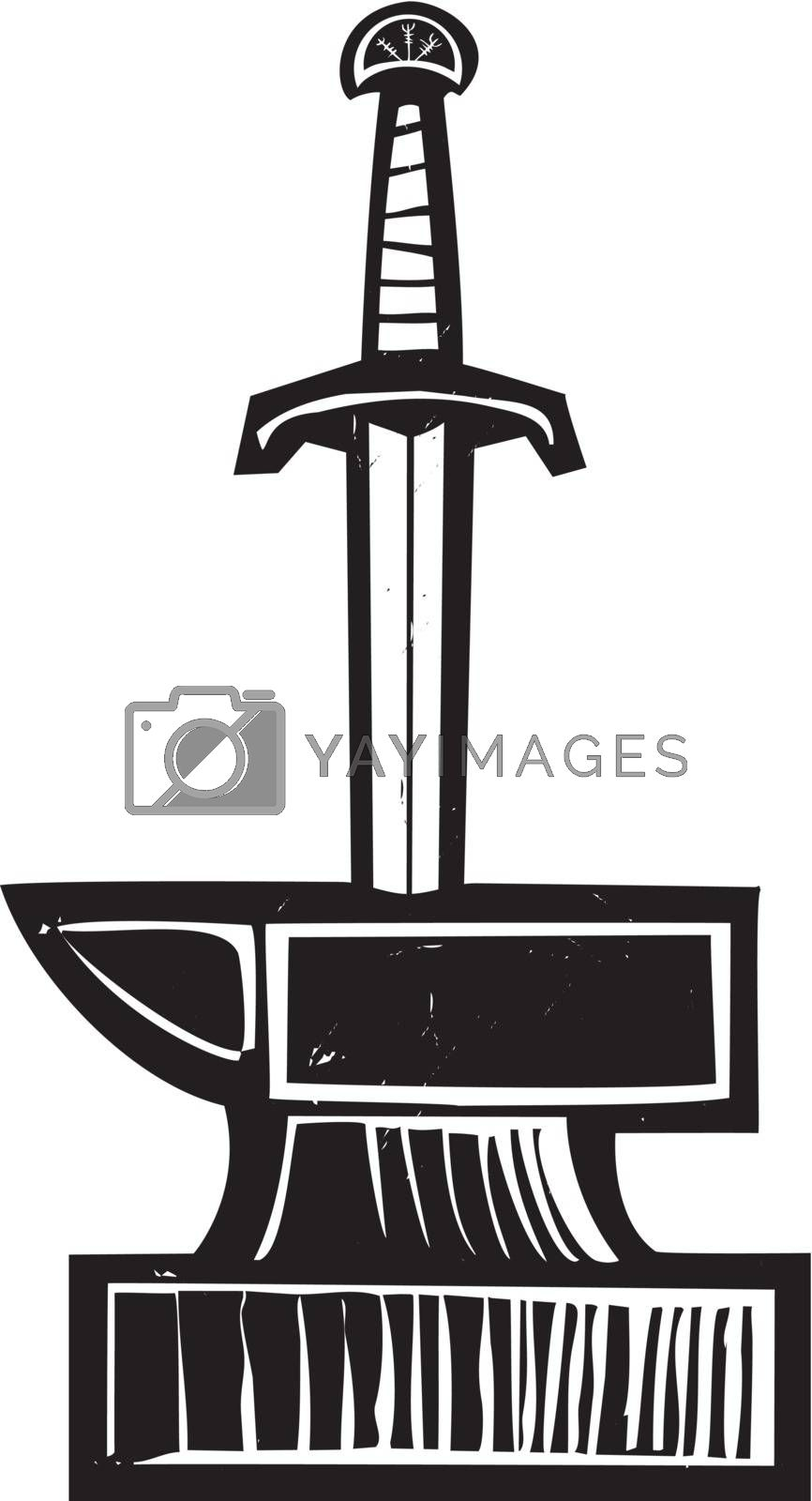Woodcut image of King Arthur's Sword in the Stone Excalibur