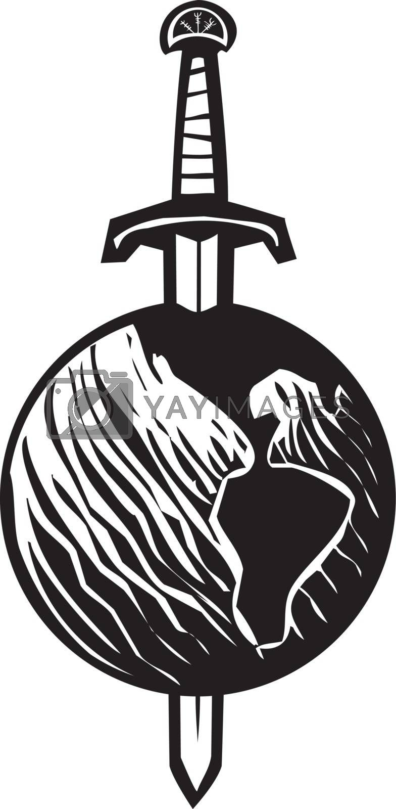 Woodcut image of a sword impaling the earth.