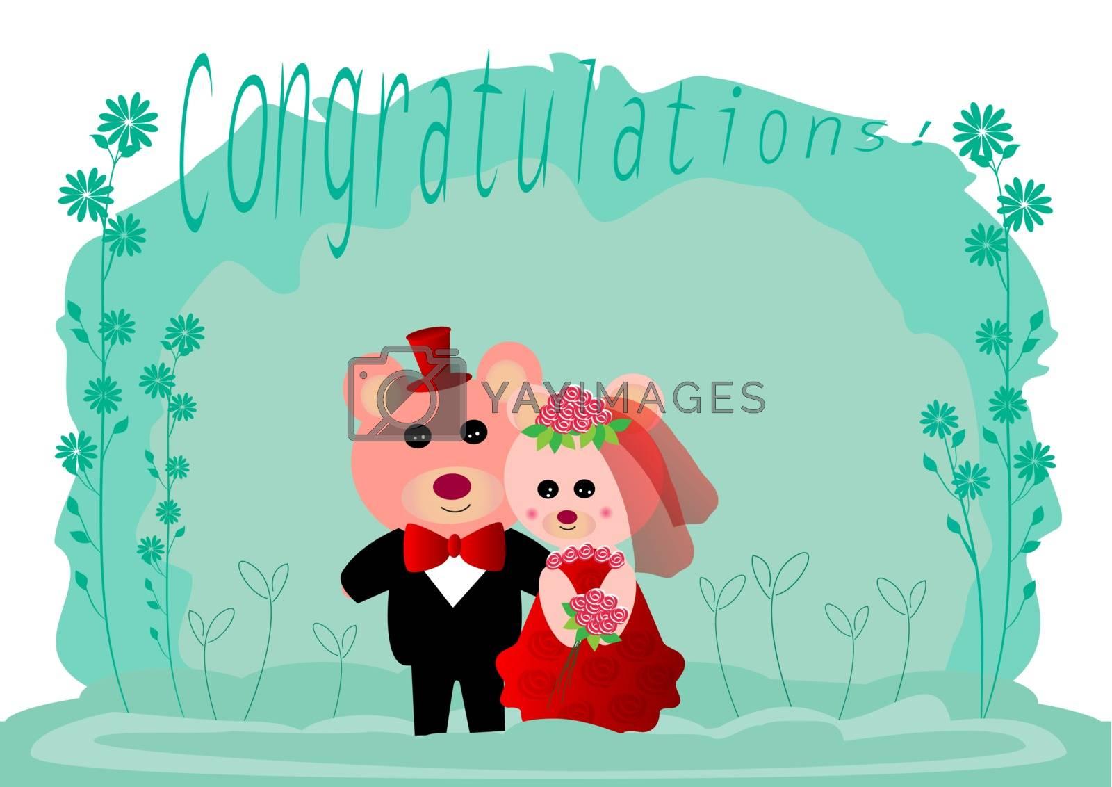 Wedding invitation card with cute teddy bears