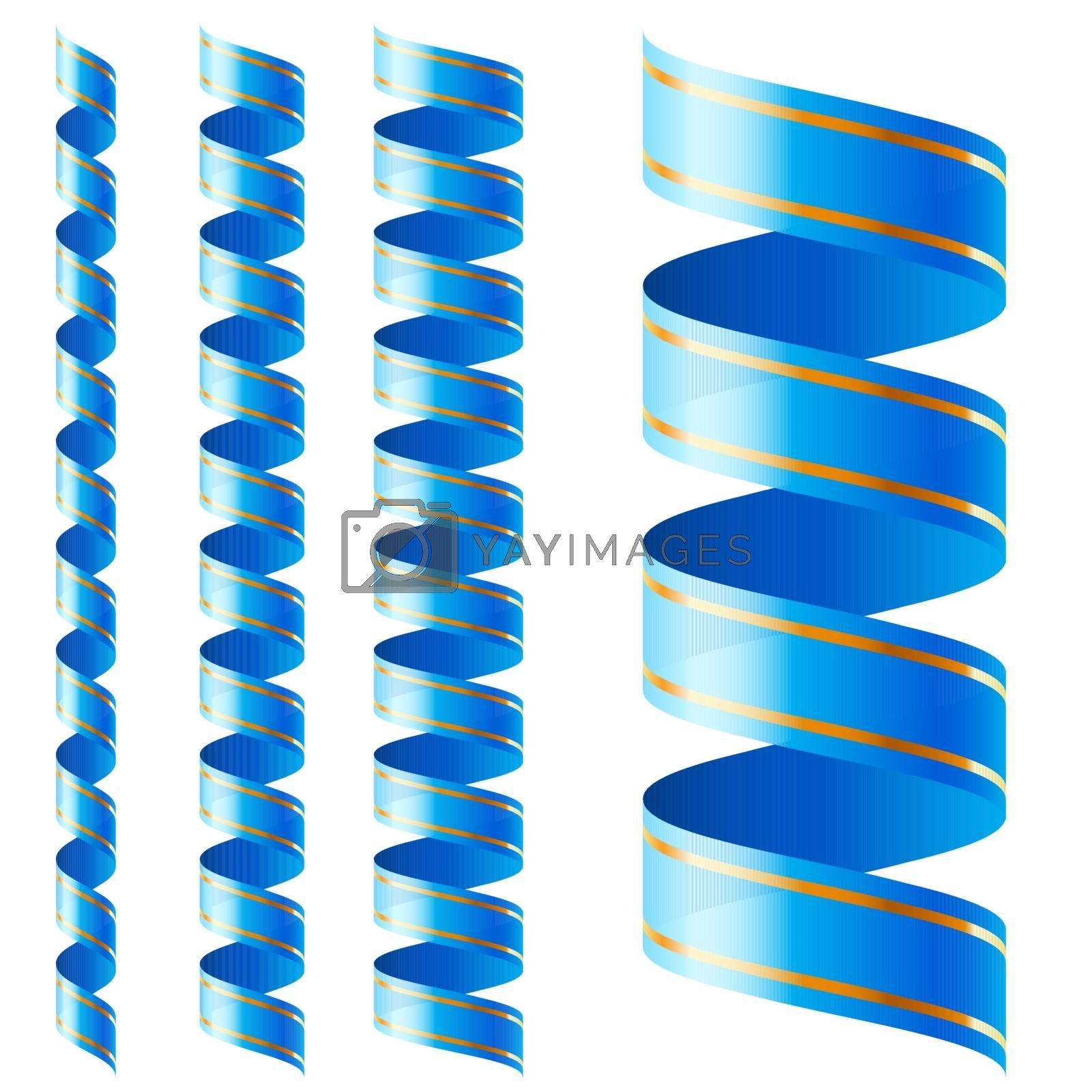 Vertical blue ribbon of different sizes on a white background