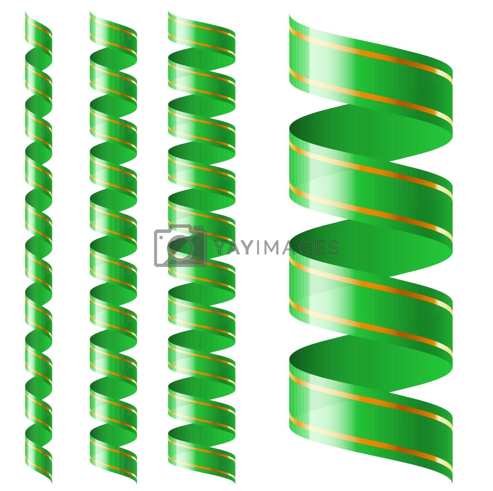 Vertical green ribbon of different sizes on a white background