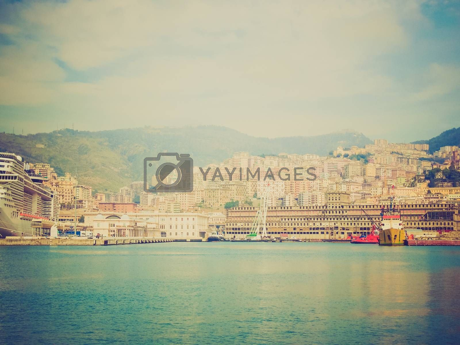 Royalty free image of Retro look View of Genoa Italy from the sea by claudiodivizia