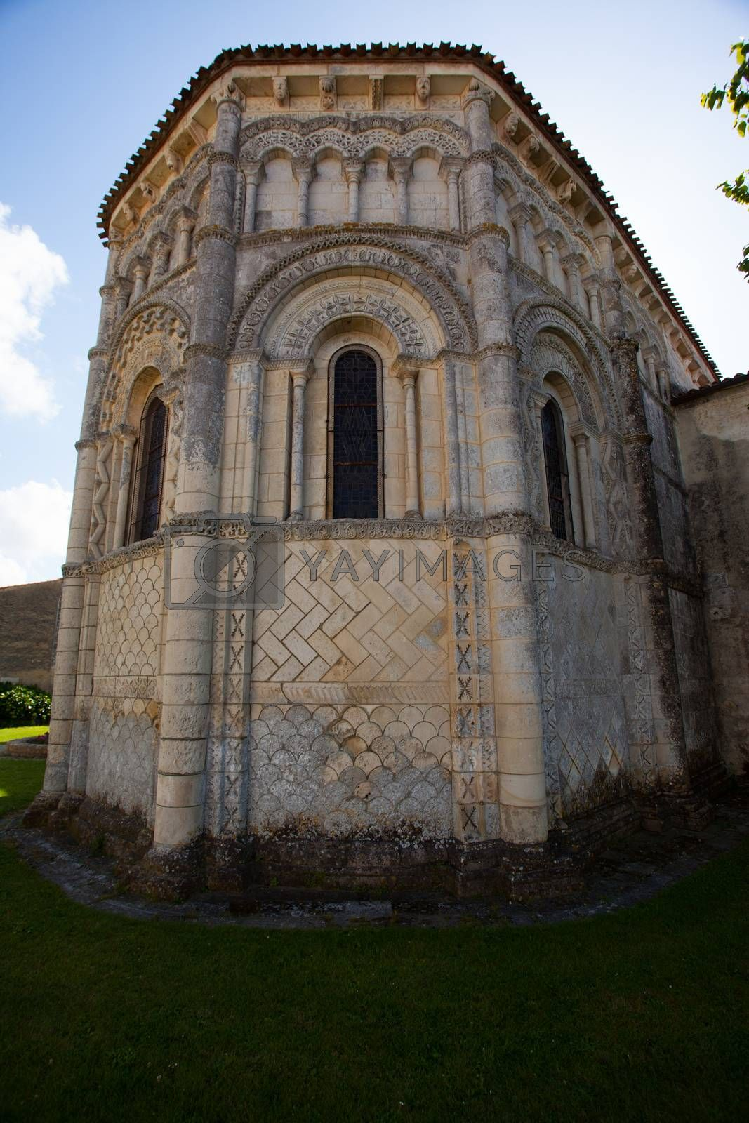General abse view of the romanesque Rioux church. Region of Charente in France