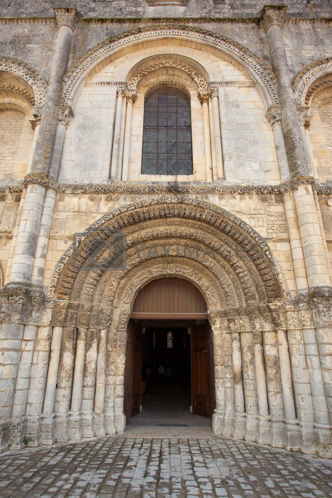 View from a fine romanesque church facade in Saintes, France, Abbey aux Dames