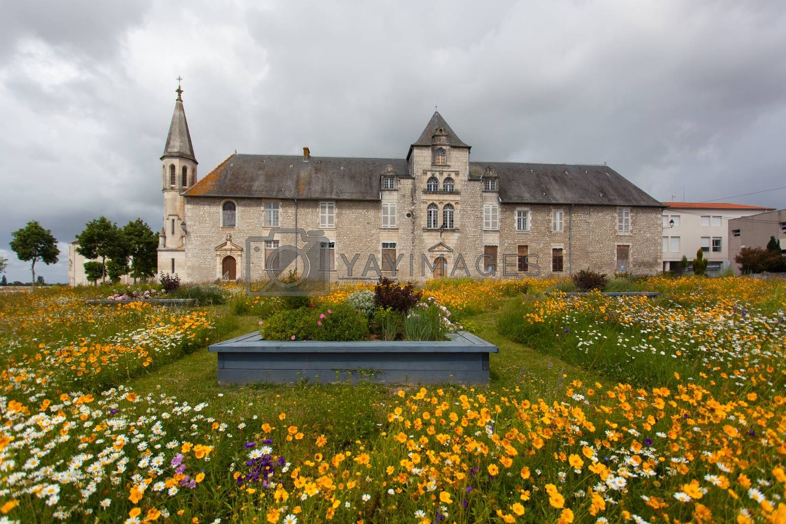 Antique hospital of Saintes , France ,with Flowered meadow in the forefront