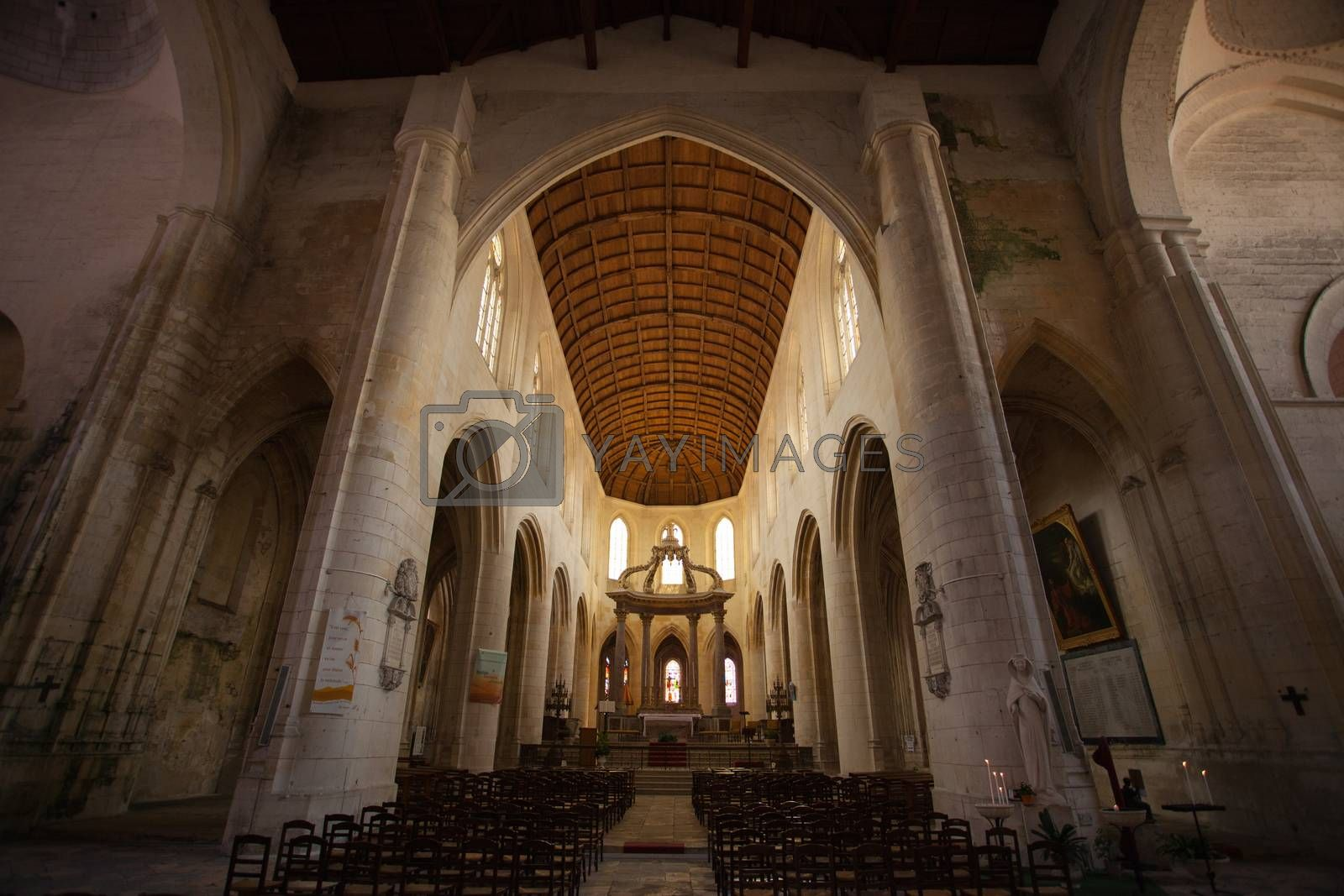 Inside view of the Saint Pierre Cathedral in Saintes France