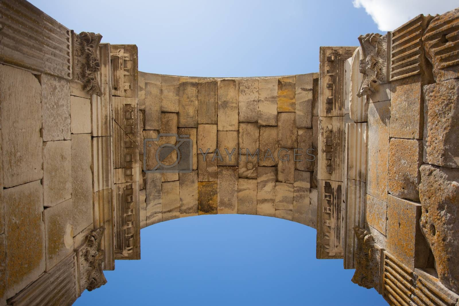 Inside view of the Germanicus roman arch of the ville of Saintes in french charente maritime region