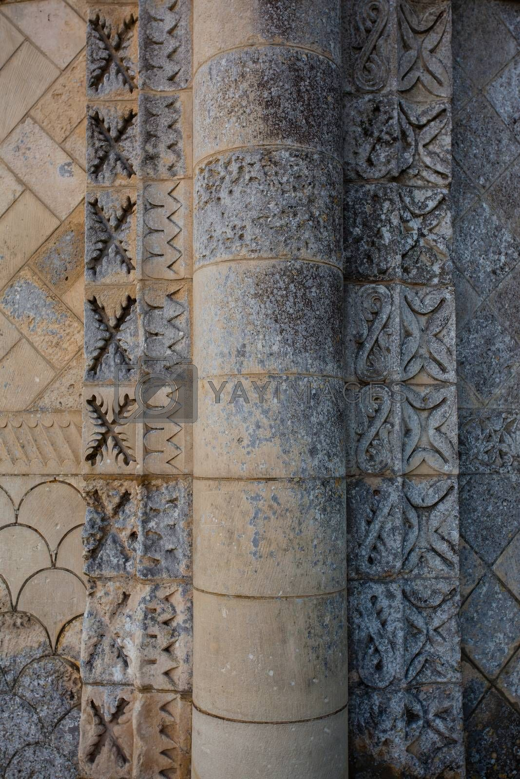 Detail of column  of the Rioux church .Region of Charente in France