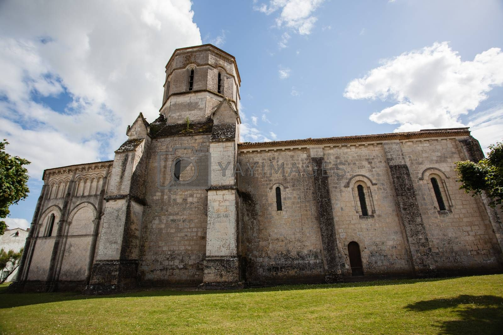 Fullview  of the romanesque Rioux church,Charente, France
