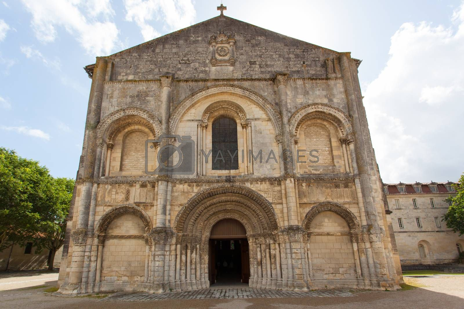 Full view of beautiful romanesque facade in Saintes Framce .Abbey aux Dames