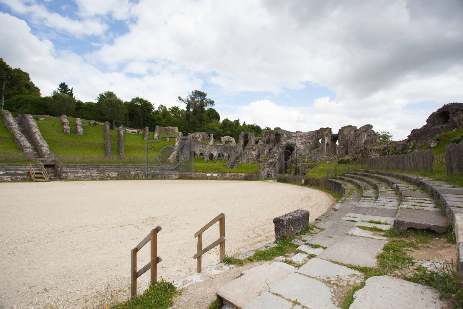 Ruins of roman amphitheater in Saintes ,France