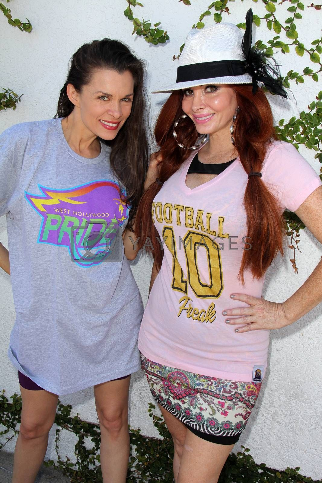Royalty free image of Alicia Arden, Phoebe Price at the Private LA Football League Summer Kickoff Suite featuring LA Football League T-Shirts, Private Location, Los Angeles, CA 06-18-14/ImageCollect by ImageCollect