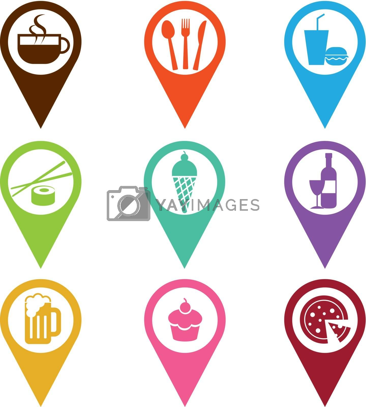 mapping pins icon food and drink