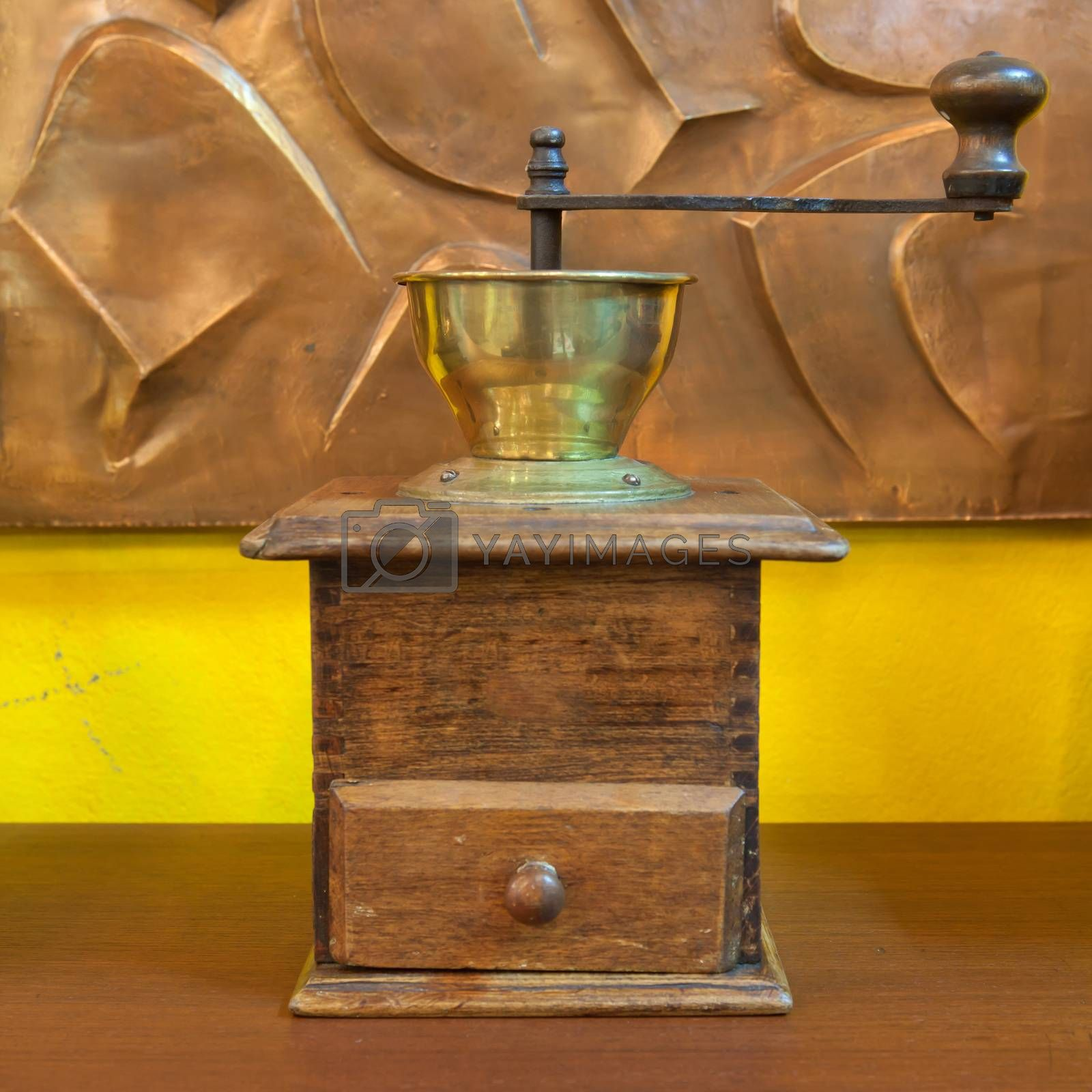 Vintage wooden coffee mill grinder