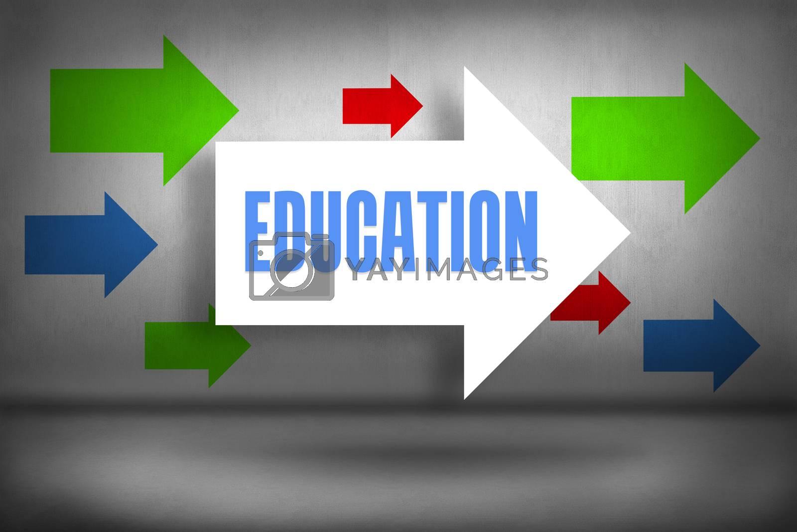 Education against arrows pointing by Wavebreakmedia