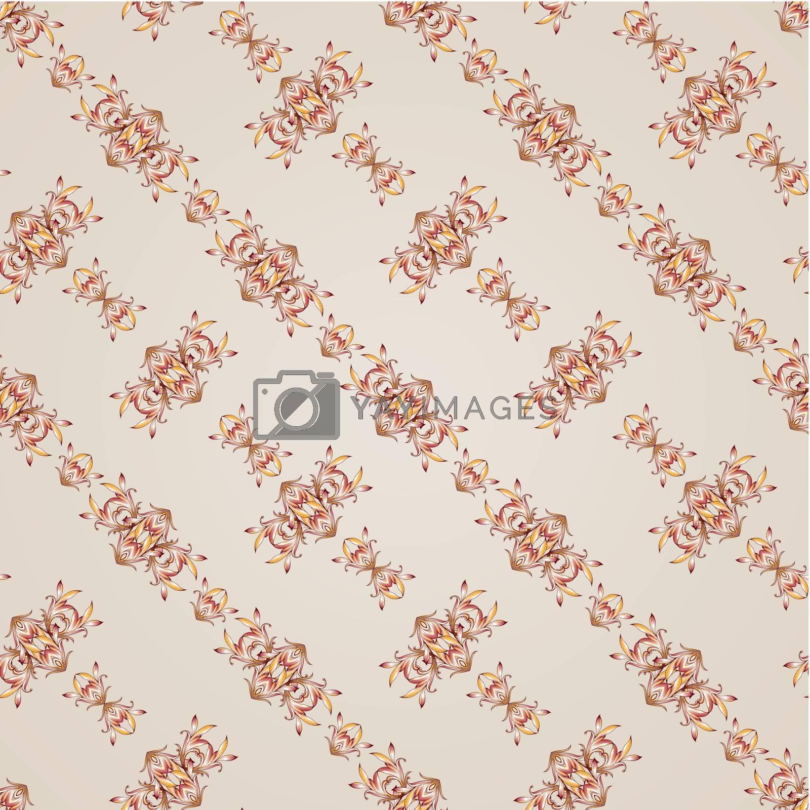 Diagonal seamless floral pattern on  light beige background