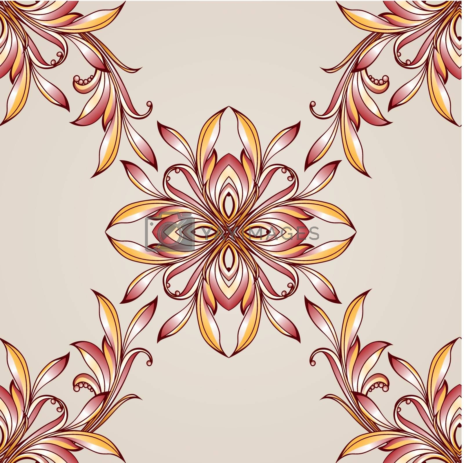 Intersecting seamless floral pattern on light beige background
