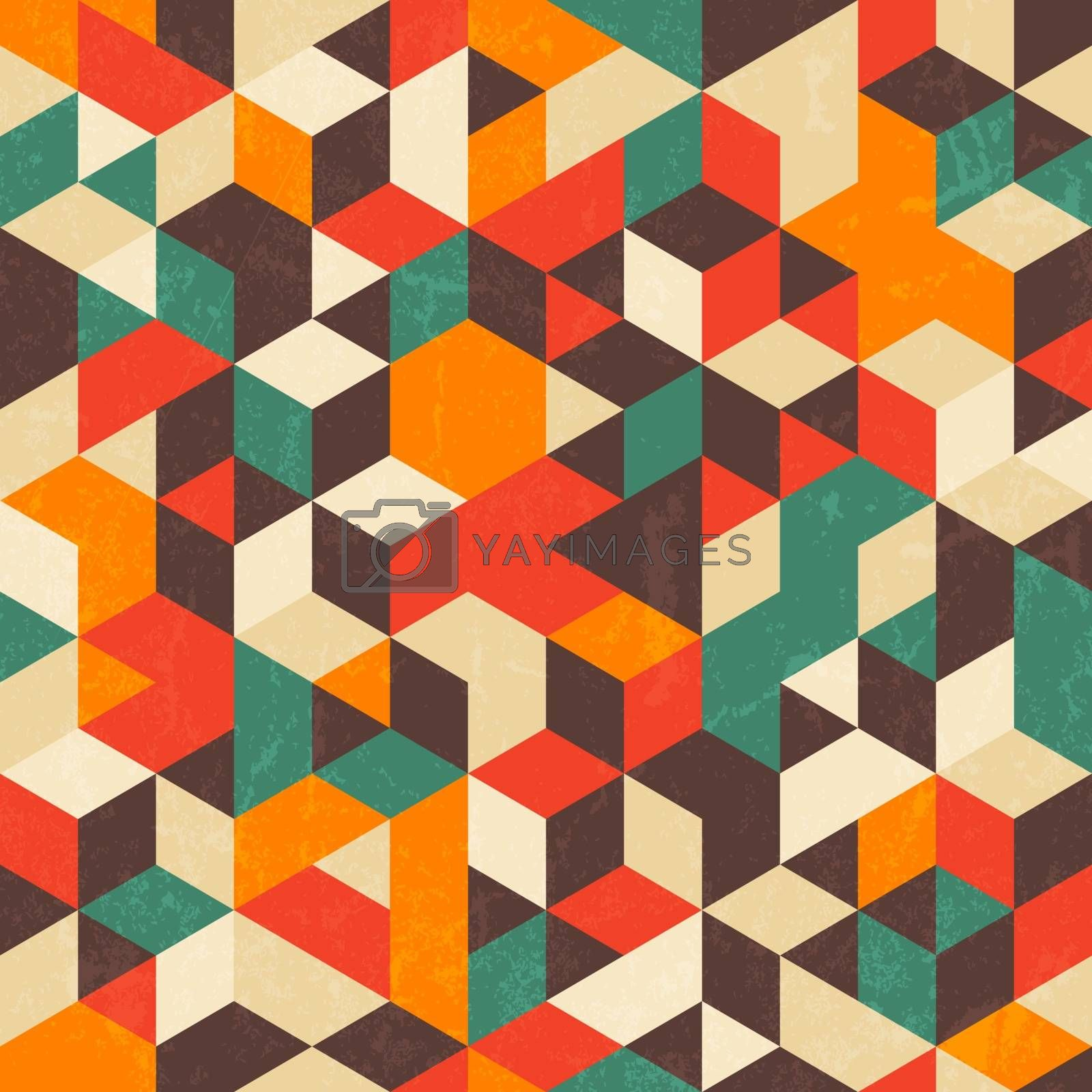 Retro geometric pattern with grunge texture. Seamless abstract background. by evdakovka