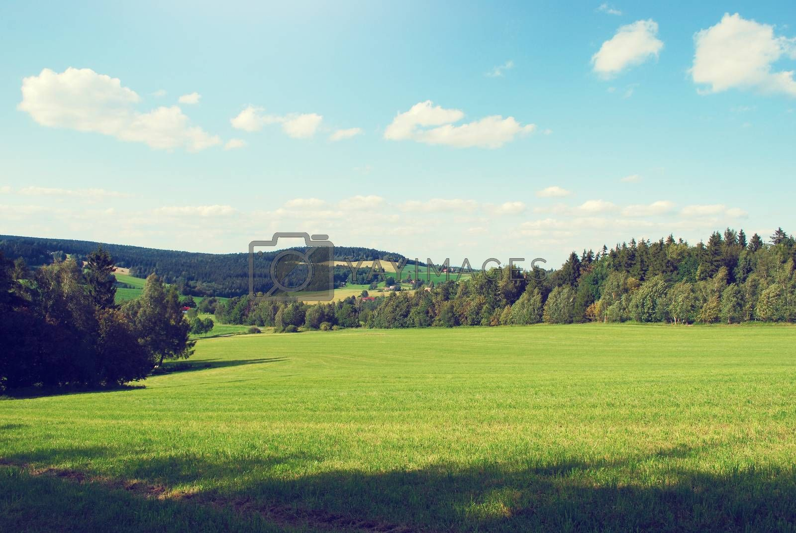 summer landscape in retro colors by sarkao
