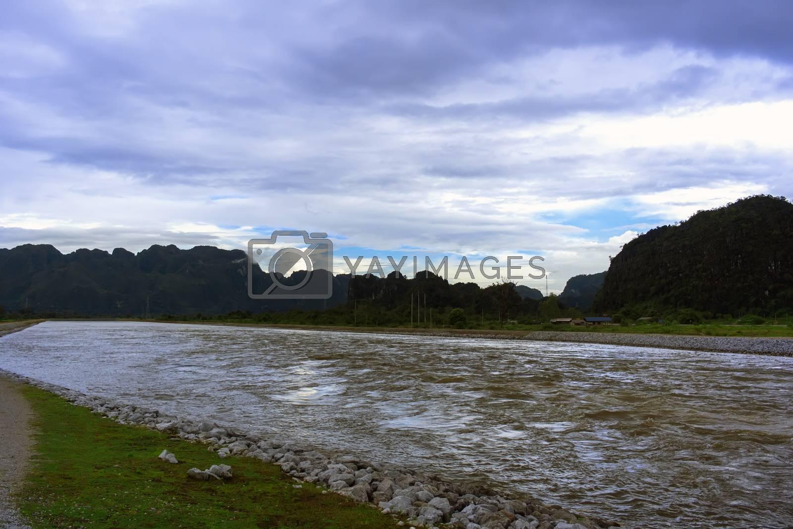 Laos Canal Landscape. by GNNick