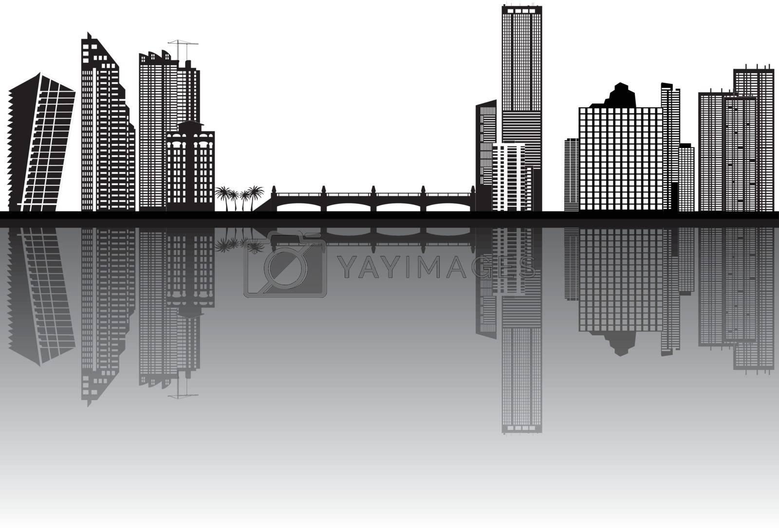 miami skyline by compuinfoto