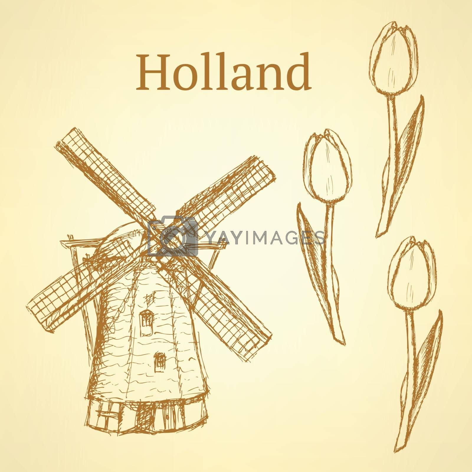 Sketch Holland windmill and tulip, vector background by Lily