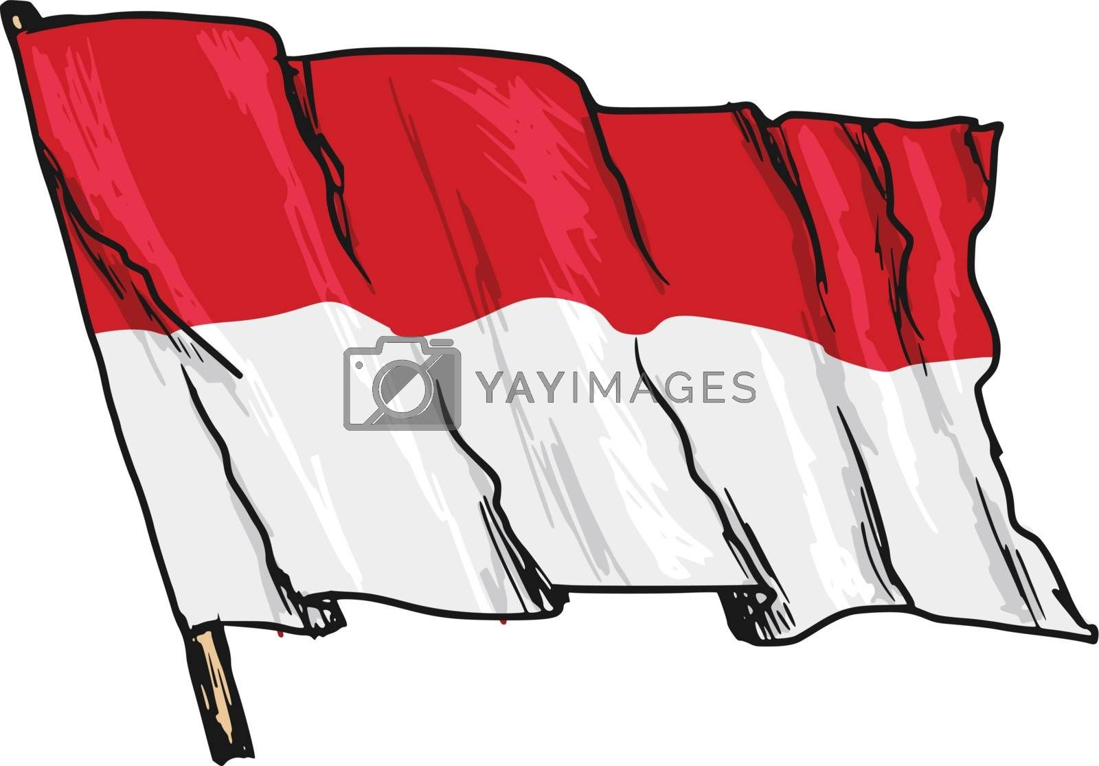 Royalty free image of flag of Indonesia by Perysty