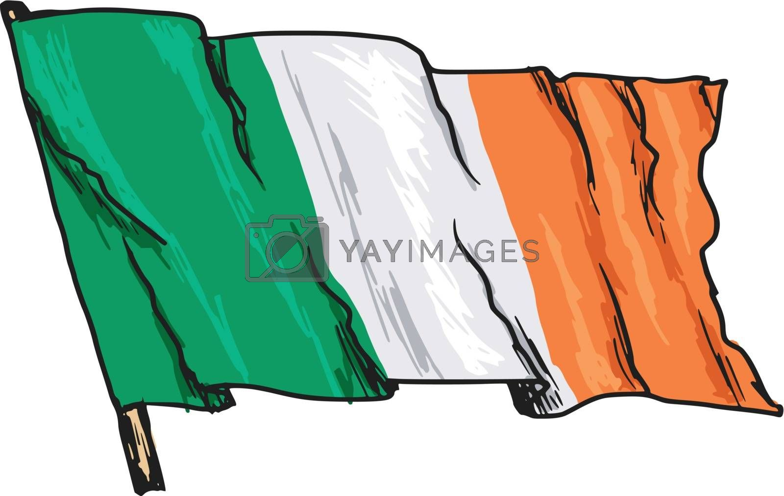 hand drawn, sketch, illustration of flag of Ireland