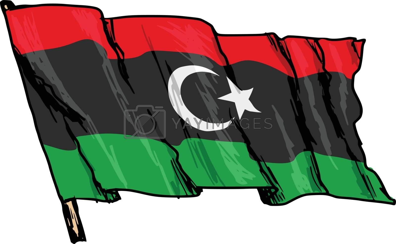 hand drawn, sketch, illustration of flag of Libya