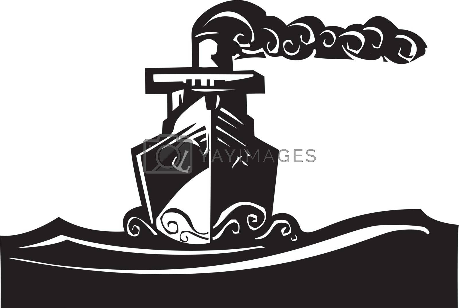 Woodcut style image of a art deco steam ship on the ocean.