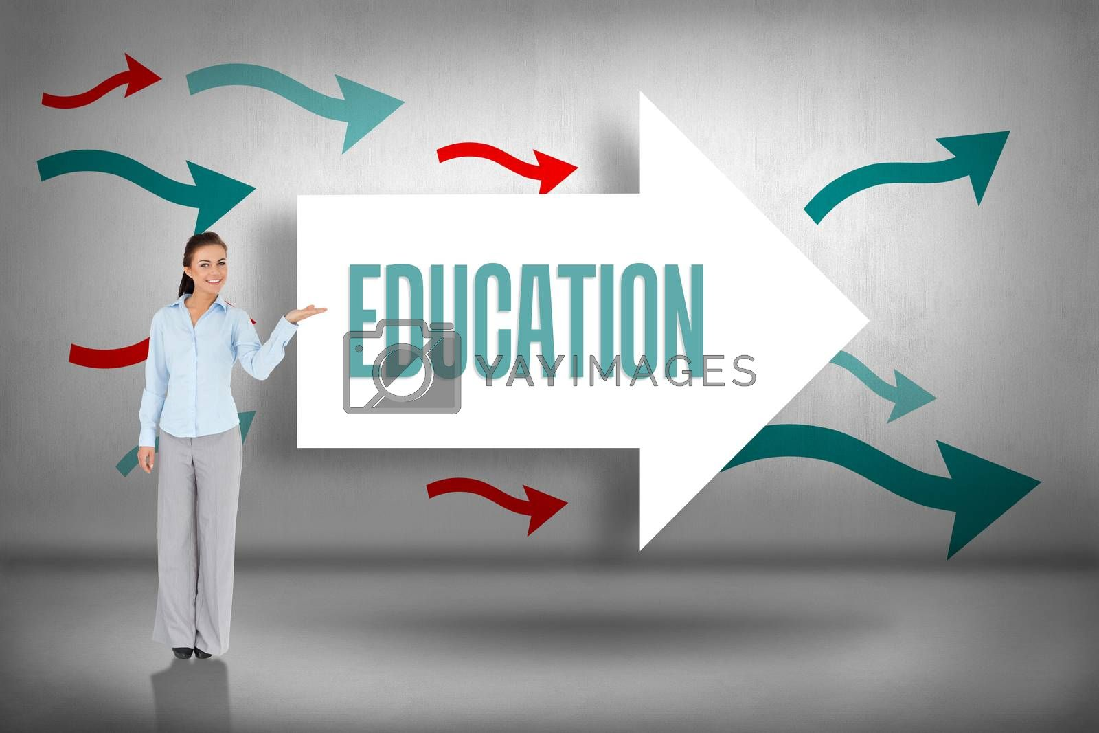 Education against arrows pointing by Wavebreakmedia