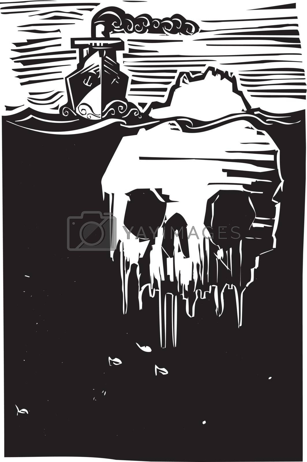 Woodcut style image of a steam ship approaching an iceberg in the shape of a skull.