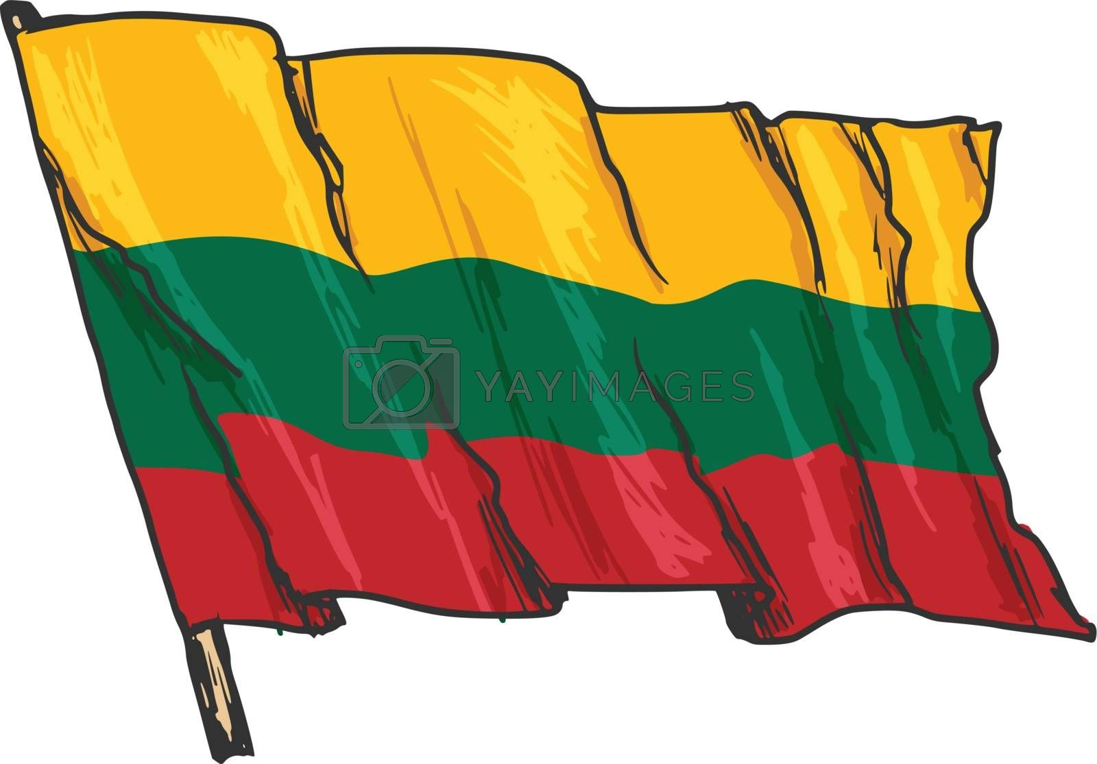 hand drawn, sketch, illustration of flag of Lithuania