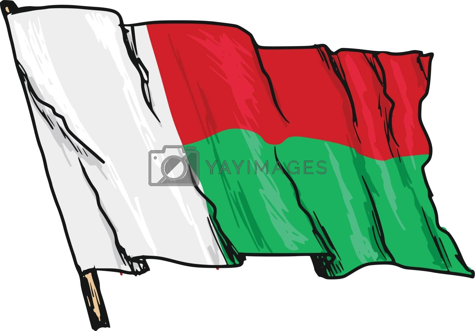 hand drawn, sketch, illustration of flag of Madagascar